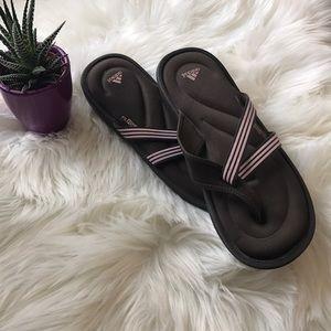 ADIDAS FLIP FLOPS-Brown/lt pink-Size 10